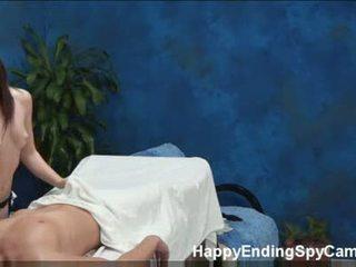 Shy teen seduces massage client caught on spy cam