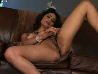 Hot and nasty Paola Rey gets too hot to handle playing with herself on the couch