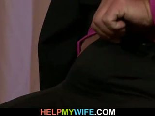He watches his wife rides stranger's cock