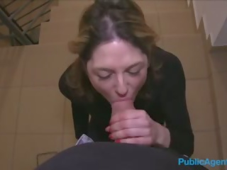 Public Agent French Tourist Fucked in Public Stairwell