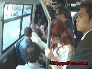 Japanese schoolgirl finger fucked on bus