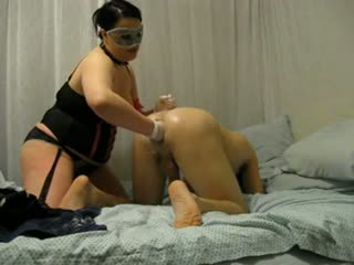 BBW mistress destroys his ass with fist and strap on