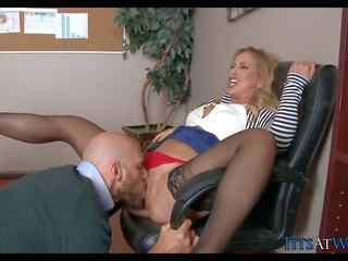 Blonde MILF in Stockings gets Fucked on Desk: Free Porn 9a