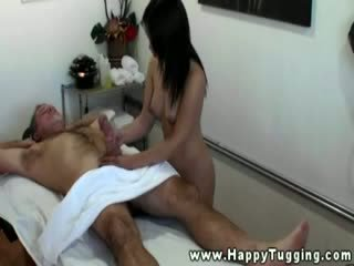 Hungry asian masseuse eating dong for this lucky guy