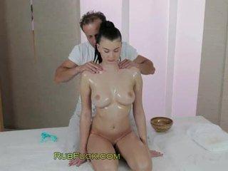 Hot natural babe gets breasts massage ...