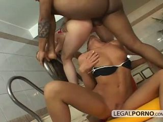Two hot babes fucked by a big black dick in a spa HC-9-04