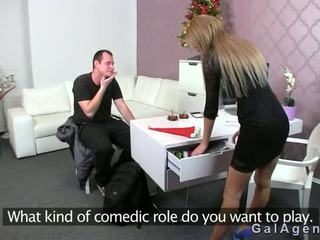 Female Agent Gets Cumshot On Her Leg From Guy On Casting