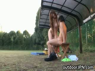 Ai Sayama japanese doll has outdoors sex
