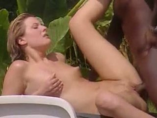 full interracial clip, great outdoor video, fun blonde action