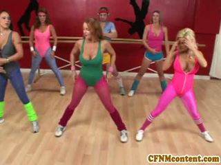 Cfnm action at yoga class with Raquel