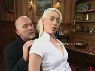 Blonde angelic sex slave fucked in extreme bondage fetish sex by pair of nasty masters