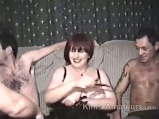 Homemade porn with mature woman and three men