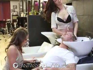 Fantasyhd - babes lily en holly hebben trio bij beauty salon
