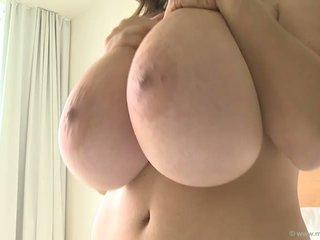 brunette, huge tits, solo