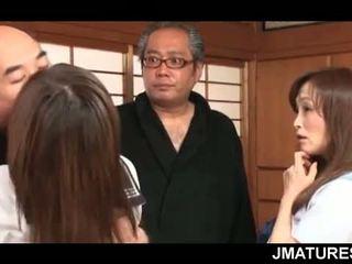 japanese, group sex, granny