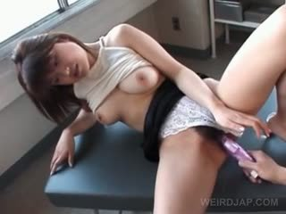 Curvy Asian Teen Nympho Gets Hairy Twat Toyed On A Table