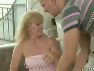 Naughty fat grandma having sex with old guy