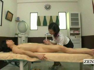Subtitled cfnm japonsko masaža s čutno drkanje
