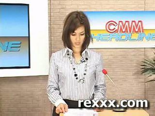 Uutiset reporter gets bukakke aikana hänen työ (maria ozawa bu