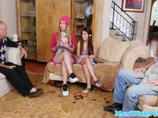 Petite Teen Pussylicked in Trio with Oldman: Free Porn ac