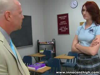 InnocentHigh Redhead schoolgirl teen Alana Rains spanked fucked
