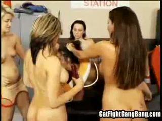Cat Fight Gangbang: Hot lesbian slut g...