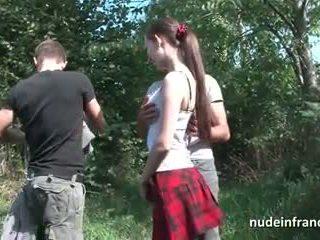 枯瘦 法國人 女學生 深 肛門 pounded 在 3一些 戶外