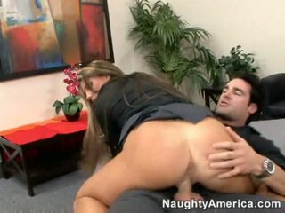Charisma Cappelli rides a cock, in office