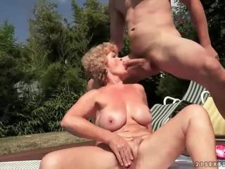 Ugly old bitch gets fucked outdoor