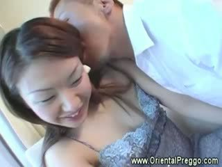 Eager guy gets his hands on a prego asian girls full body