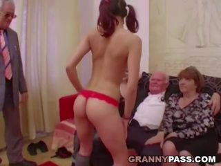 Young Girls Dance for Grandpa Before Suck His Cock: Porn 9d