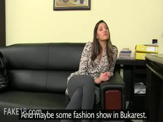 Fake agent having bang on leather couch