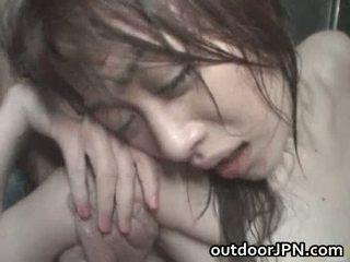 Akari hoshino japonesa al aire libre duro
