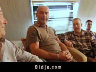 Six Old Men Gang Bang Young Blonde Fuck Machine