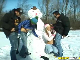 Snowman & Two Big Titted Snow Whites