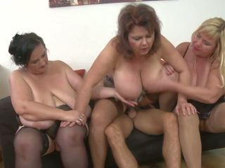 Three Mature Busty Moms vs One Young Son, Porn 9e