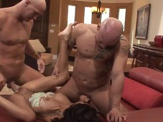 brunette, big boobs, 3some, reverse cowgirl, fake tits, huge tits