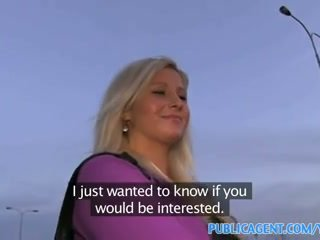 PublicAgent Curvy blonde accepts sex for money offer at bus stop