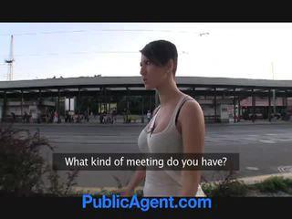 Brunette gets nasty for money in public