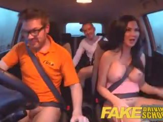 Fake driving sekolah peperiksaan failure ends dalam bertiga double creampie