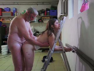 Slutty Maid Fucking Porn Addict Grandpa gets Mouth.