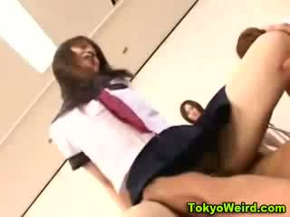Oriental highschool chick fuck and facial