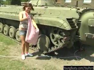 Busty teen Alexa toy twat in tank