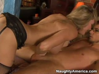 Filthy milf Brandi Love crouches her way to her lovers thick cock and blows it